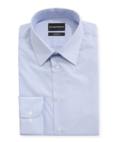 Modern Fit Tattersall Barrel-Cuff Dress Shirt