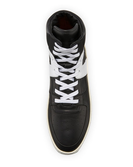 Basketball Leather High-Top Sneaker, Black/White