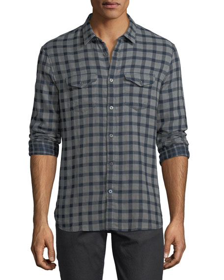 John Varvatos Star USA Plaid Cotton Western Shirt