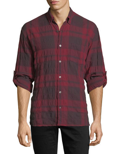Roll-Up Plaid Sport Shirt with Pocket