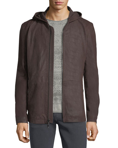 Leather Parka Jacket w/ Double-Closure Cuffs