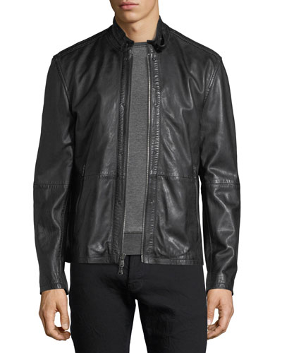 Leather Racer Jacket w/ Buckle Tab
