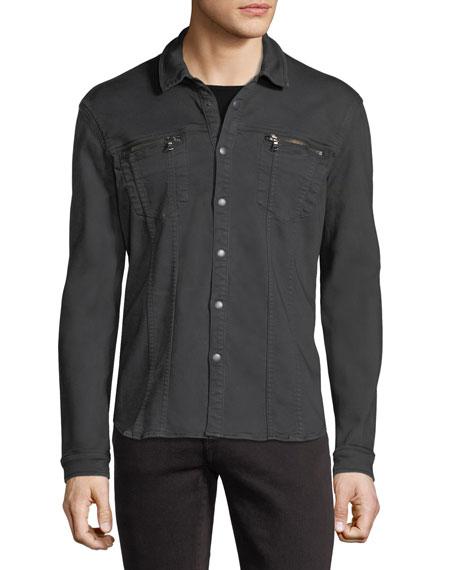 Denim Knit Shirt Jacket
