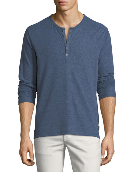 Long-Sleeve Henley w/Coverstitch Detail