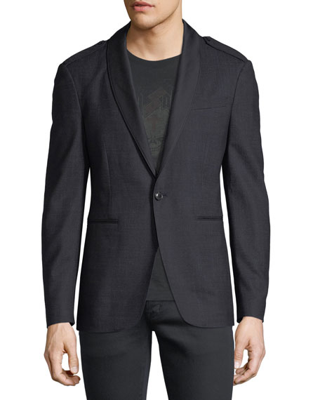 Satin Shawl-Collar Blazer
