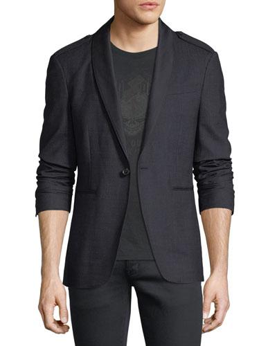 Satin Shawl-Collar Blazer