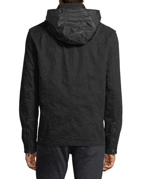 Double-Zip Hooded Shirt Jacket