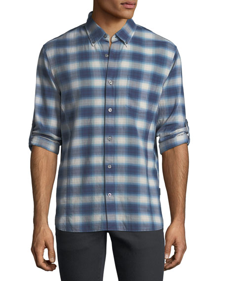 John Varvatos Star USA Roll-Up Plaid Sport Shirt