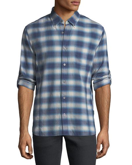John Varvatos Star USA Roll-Up Plaid Sport Shirt