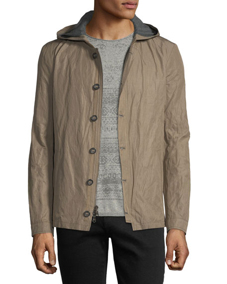 Tape-Button Short Parka Jacket w/ Hood
