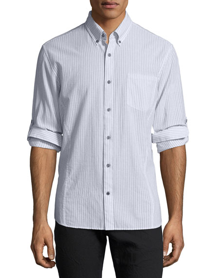 John Varvatos Star USA Roll-Sleeve Striped Cotton Button-Front