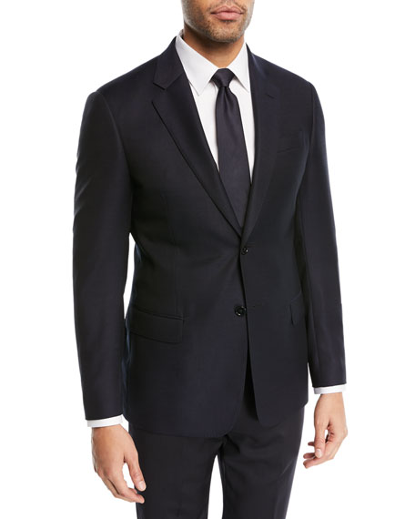 Emporio Armani Two-Button Wool Blazer, Navy