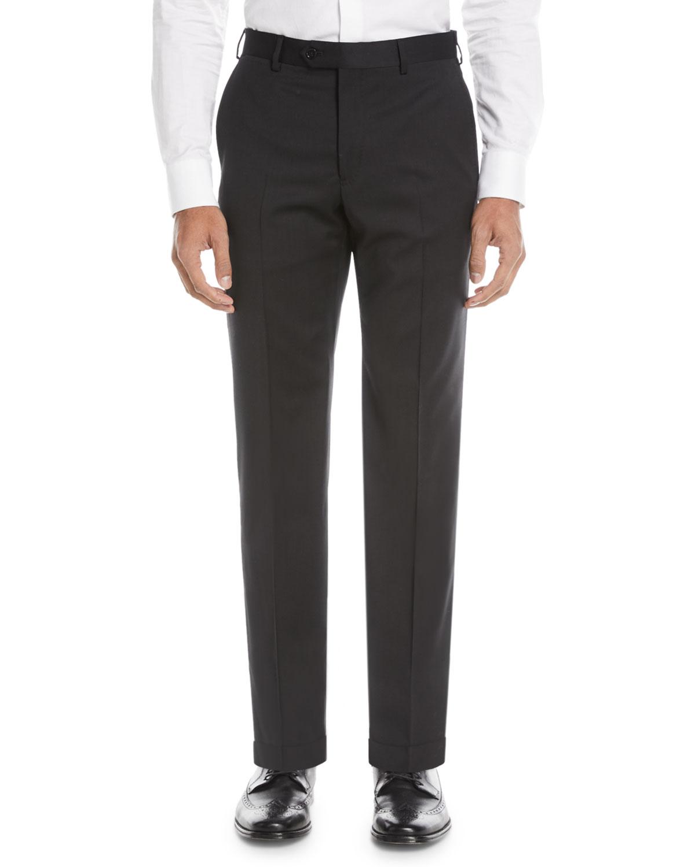 bc34b2fa7c7 Emporio Armani Basic Flat-Front Wool Trousers