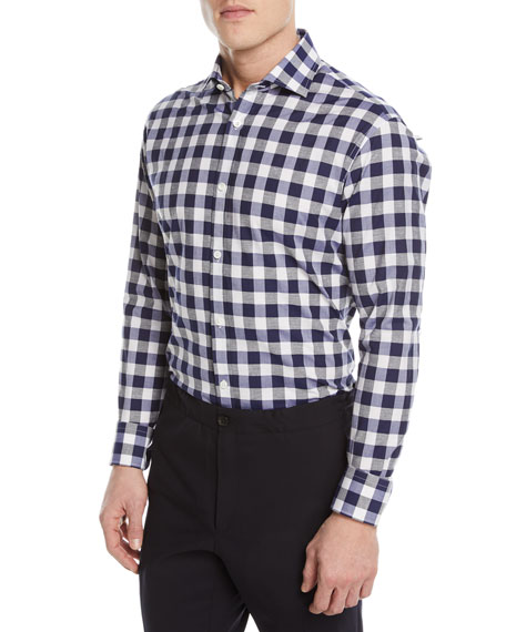 Gingham Cotton-Silk Sport Shirt