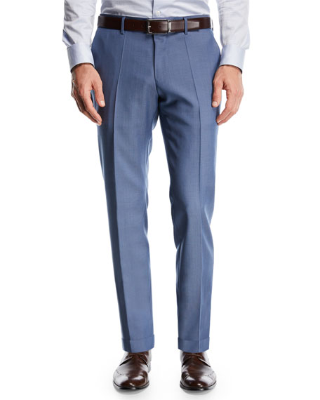 Wool Flat-Front Pants, Light Blue