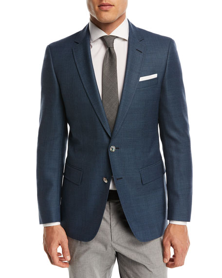 Solid Wool Two-Button Sport Coat