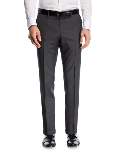 Wool Twill Flat-Front Pants