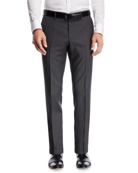 BOSS Wool Twill Flat-Front Pants