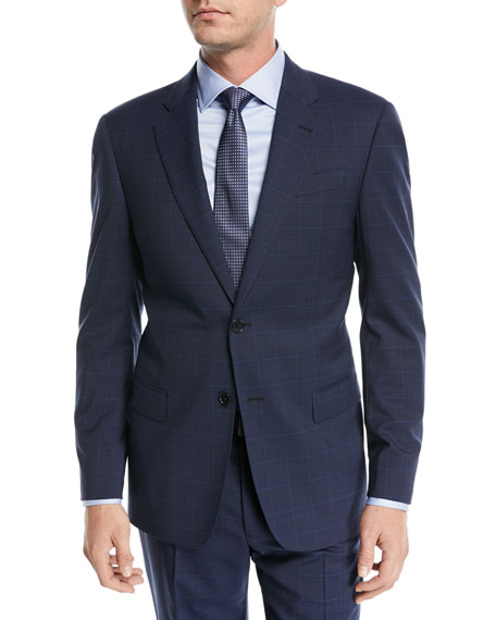 Emporio Armani Plaid Two-Piece Wool Suit, Navy