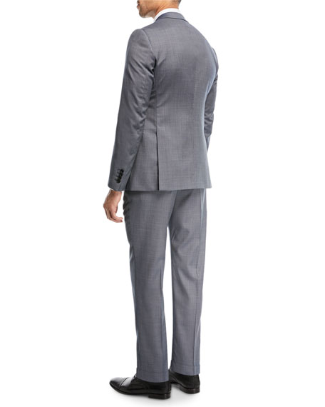 Two-Piece Graph Check Wool Suit