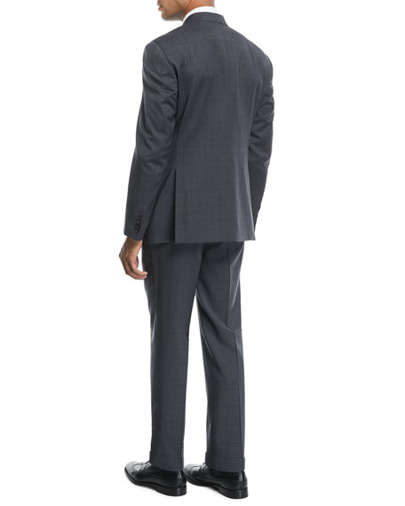 Small Check Two-Piece Wool Suit