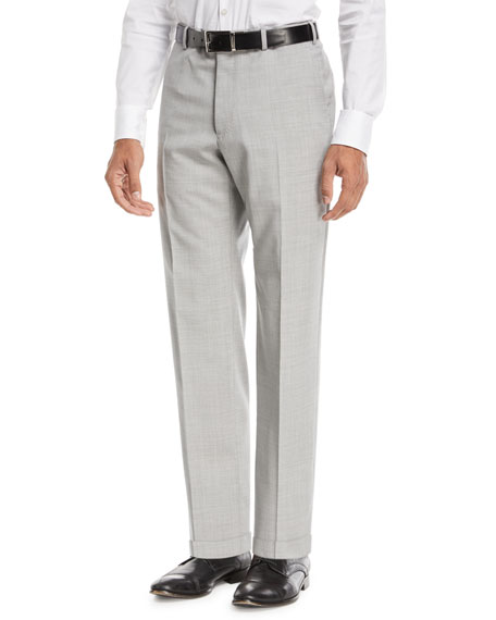 Emporio Armani Flat-Front Wool Trousers