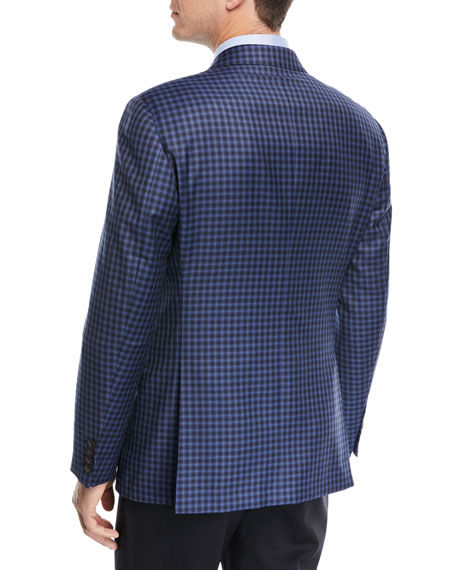 Windowpane Two-Button Sport Coat, Navy Blue