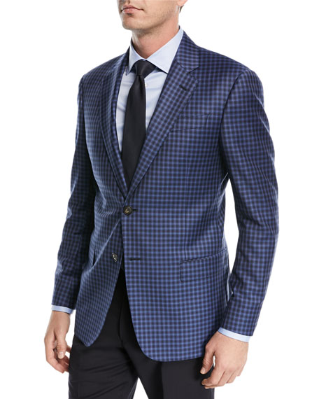 Emporio Armani Windowpane Two-Button Sport Coat, Navy Blue