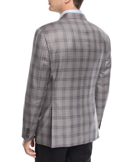 Two-Button Windowpane Blazer, Gray