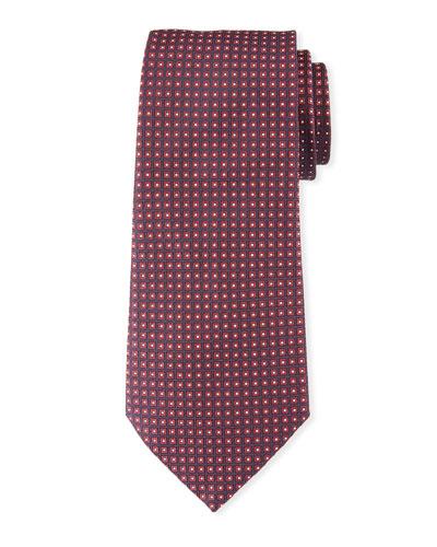 Neat Small Square Silk Tie, Dark Red