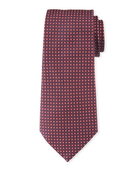 Neat Small Square Silk Tie, Dark Red