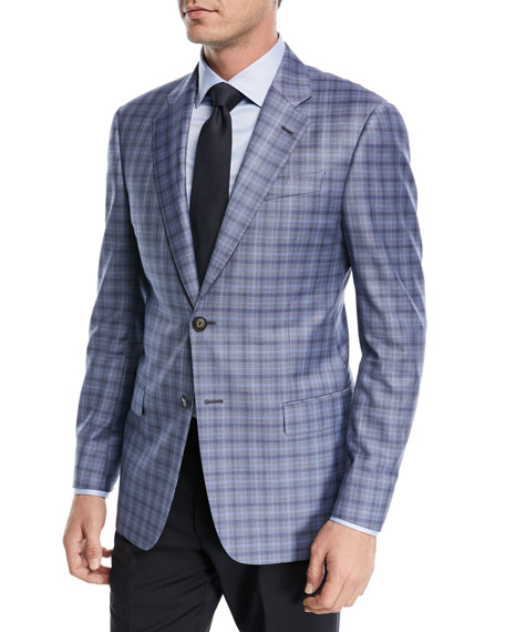 Emporio Armani Plaid Wool Two-Button Jacket