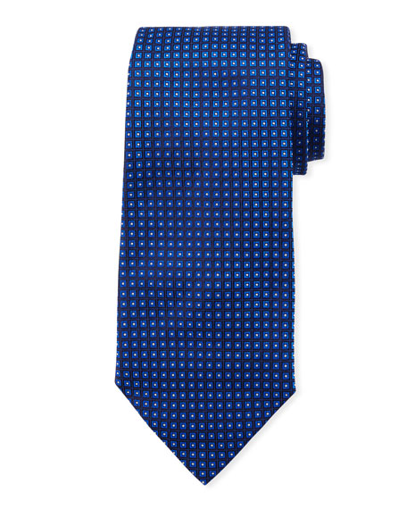 Neat Small Square Silk Tie, Bright Blue
