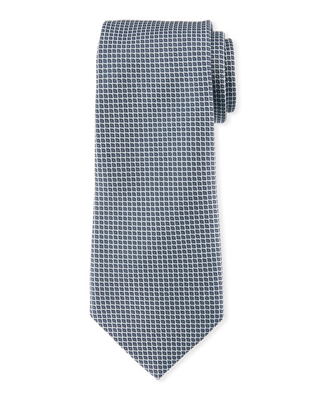 Neat Small Square Silk Tie, Gray