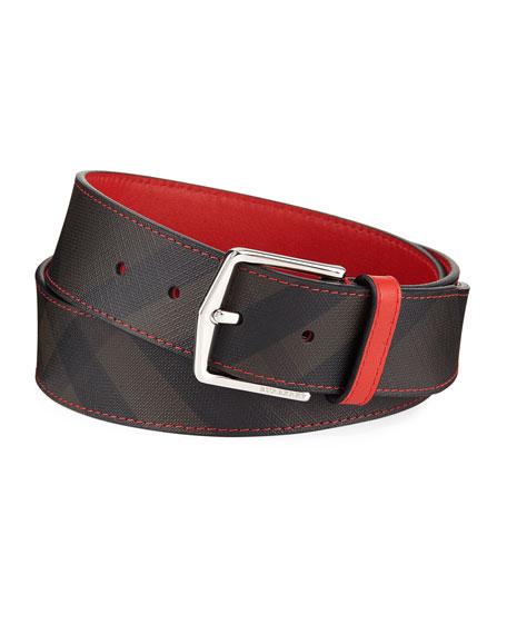 Burberry Joe Contrast-Trim Check Belt