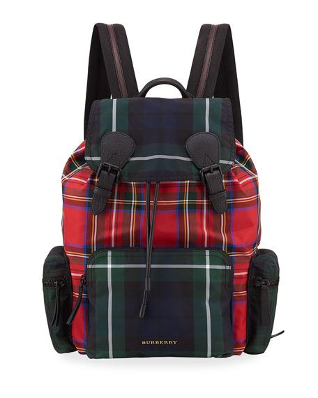 Burberry Multi-Check Rucksack Canvas Backpack