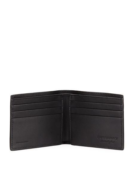 Image 2 of 3: Hip Fold Pebbled Leather Wallet, Black