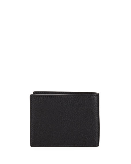 Image 3 of 3: Hip Fold Pebbled Leather Wallet, Black