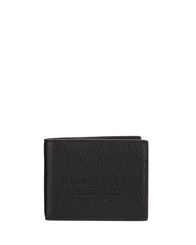 Hip Fold Pebbled Leather Wallet, Black