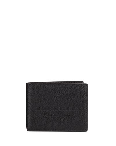 Hip Fold Pebbled Leather Wallet, Black
