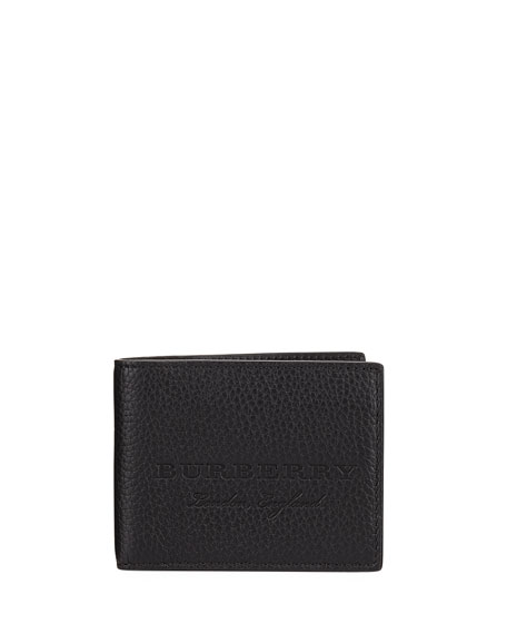 Burberry Hip Fold Pebbled Leather Wallet, Black