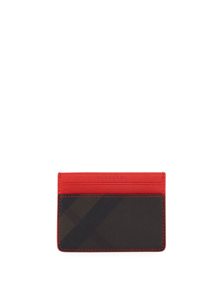Burberry Sandon Check-Print Card Case, Chocolate