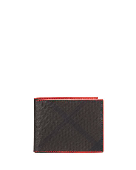 Burberry Hip Bi-Fold Check Wallet, Chocolate
