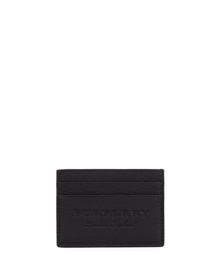 Burberry Sandon Leather Card Case, Black