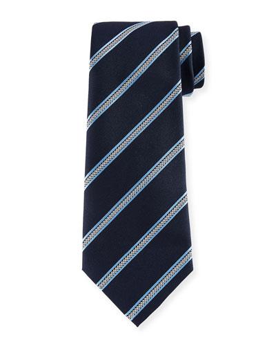 Arrow Striped Silk Tie, Navy
