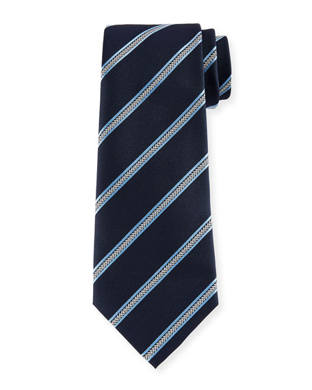 Arrow Striped Silk Tie, Navy