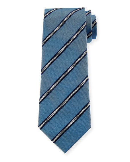Emporio Armani Arrow Striped Silk Tie, Light Blue