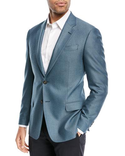 Textured Ocean Blue Blazer