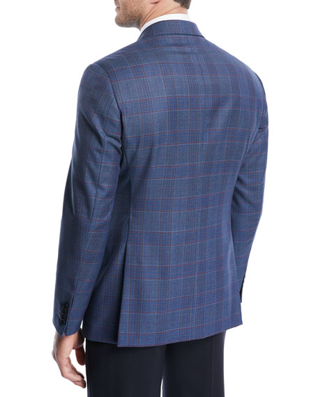 Two-Tone Plaid Wool Jacket