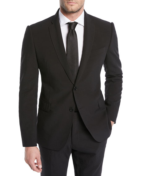 Emporio Armani Solid Seersucker Wool Two-Piece Suit